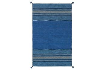 "5'x7'5"" Rug-Tassel Cotton Flatweave Blue"
