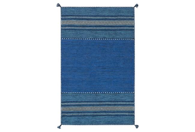 60X90 Rug-Tassel Cotton Flatweave Blue - 360