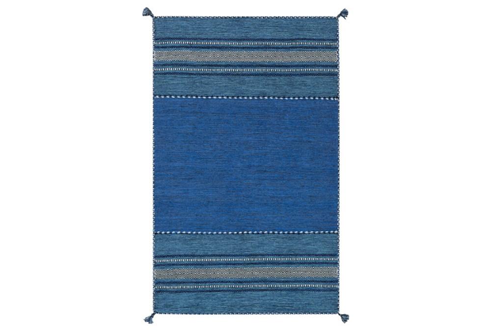 96X120 Rug-Tassel Cotton Flatweave Blue