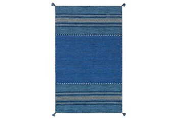 8'x10' Rug-Tassel Cotton Flatweave Blue