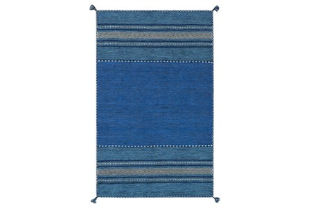 96X120 Rug-Tassel Cotton Flatweave Blue