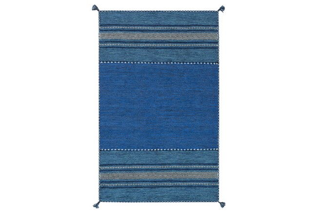 96X120 Rug-Tassel Cotton Flatweave Blue - 360