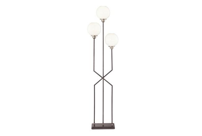 Floor Lamp-Cross Base White Globe 3-Light