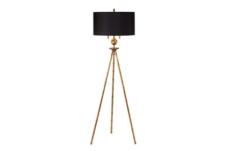 Floor Lamp-Gold Leaf Bamboo Tripod - Main