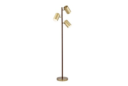 Floor Lamp-Walnut & Brass 3-Light Spotlight