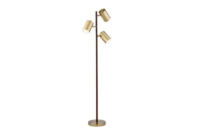 Floor Lamp-Walnut & Brass 3-Light Spotlight - 360
