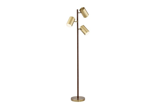 3 Light Floor Lamp Simple Floor LampWalnut Brass 60Light Spotlight Living Spaces