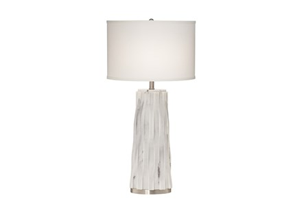 Table Lamp-White Marble Basketweave