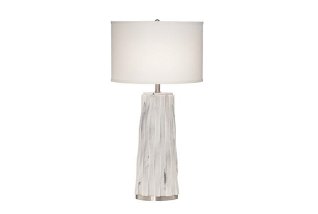 Table Lamp-White Marble Basketweave - 360