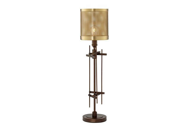 Table Lamp-Bronze Perforted Shade 1-Light - 360