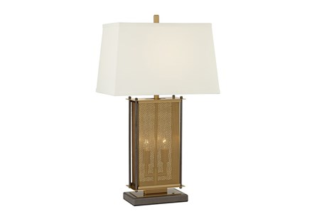 Table Lamp-Bronze Perforated Shade Column