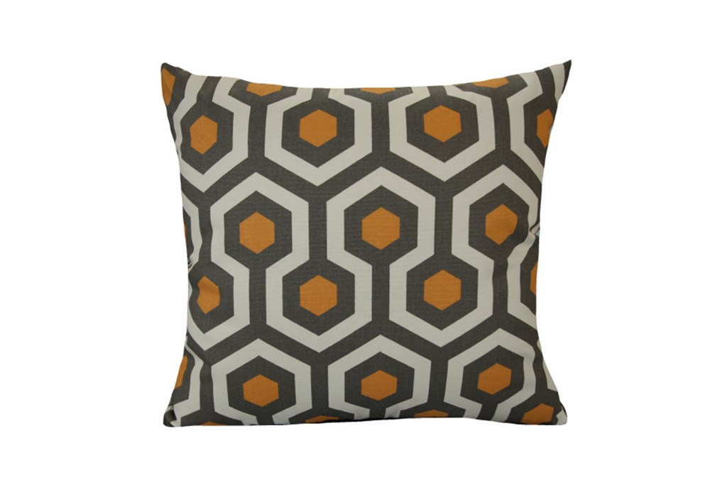 Accent Pillow-Retro Honeycomb Orange 18X18