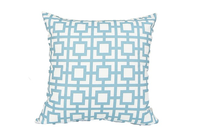 Accent Pillow-Sky Blue Squares 18X18 - 360