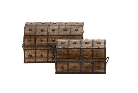 2 Piece Set Wood And Metal Box