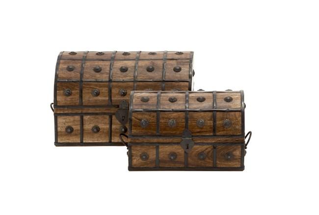 2 Piece Set Wood And Metal Box - 360