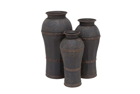 3 Piece Set Dark Metal Vases
