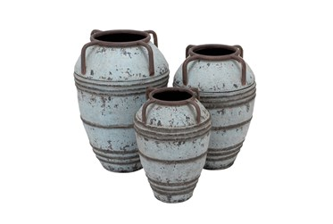 3 Piece Set White Wash Vases