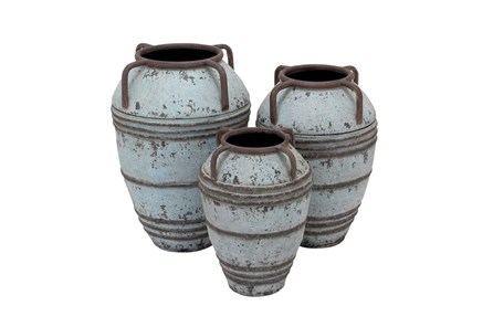 3 Piece Set White Wash Vases