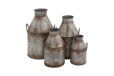 4 Piece Set Galvanized Pots