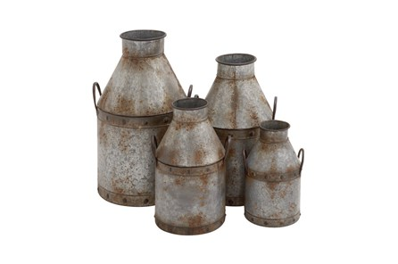 4 Piece Set Galvanized Pots - Main