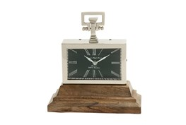 Metal And Wood Table Clock