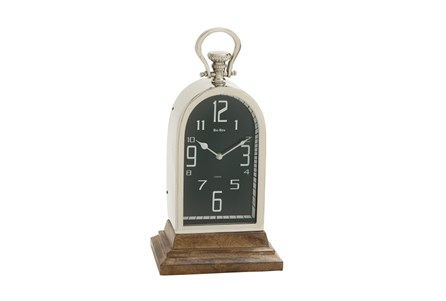 Metal And Wood Table Clock Tall Oval