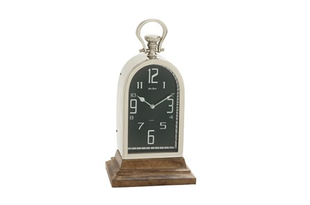 Metal And Wood Table Clock Tall Oval - Main