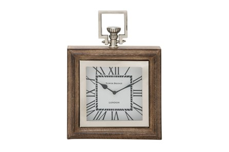 Metal And Wood Table Clock Square - Main