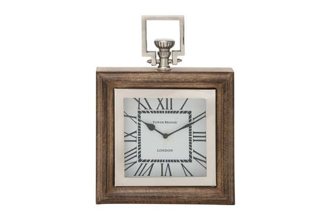Metal And Wood Table Clock Square - 360