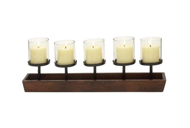Dark Wood & Metal 5 Votive Candleholder - 360