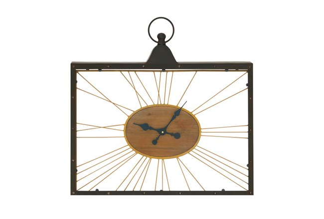 Metal Wood And Glass Wall Clock - 360