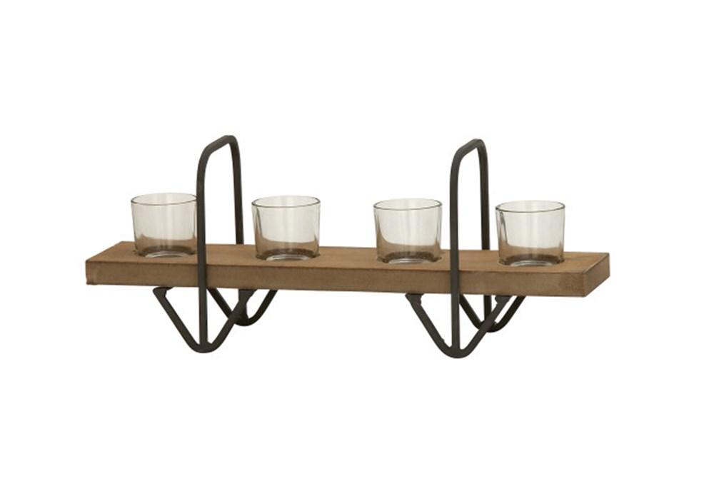 4 Votive Wood Glass Candleholder