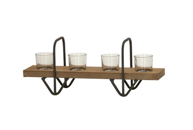 4 Votive Wood Glass Candleholder - 360