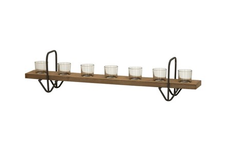 7 Votive Wood Glass Candleholder - Main
