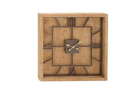 Wood Metal Square Wall Clock