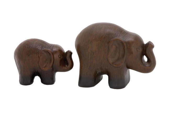 2 Piece Set Standing Elephants - 360
