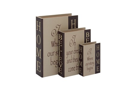 3 Piece Set Home & Believe Boxes Dark - Main