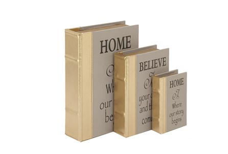 3 Piece Set Home & Believe Boxes Gold