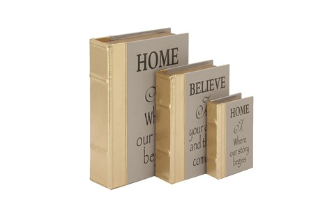 3 Piece Set Home & Believe Boxes Gold - Main