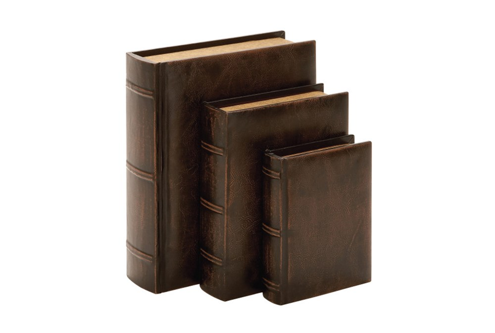 3 Piece Set Aged Leather Boxes
