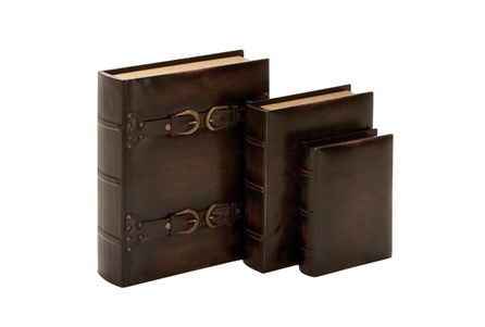 3 Piece Set Dark Wood Buckle Boxes