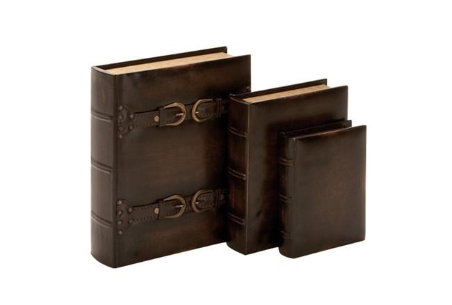 3 Piece Set Dark Wood Buckle Boxes - 360