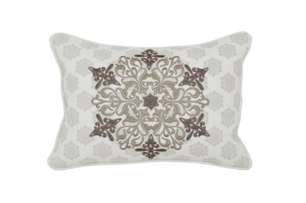 Accent Pillow-Taupe Embroidery On Print 14X20 - Main