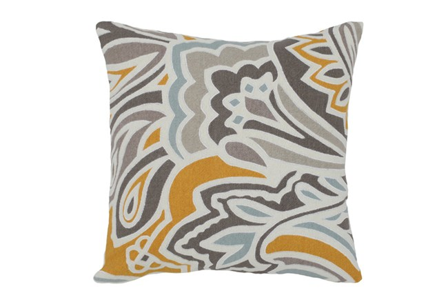 Accent Pillow-Aqua/Mustard Stylized Floral 18X18
