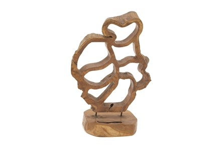 Teak Sculpture On A Stand - Main
