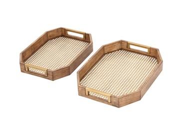 2 Piece St Wood And Lattice Tray
