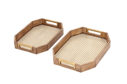 2 Piece St Wood And Lattice Tray