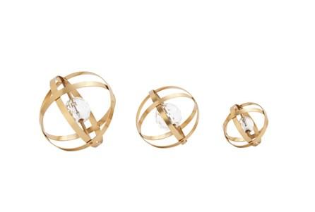 3 Piece Set Metal Acrylic Gold Orbs