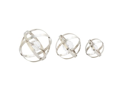 3 Piece Set Metal Acrylic Silver Orbs