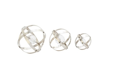3 Piece Set Metal Acrylic Silver Orbs - Main